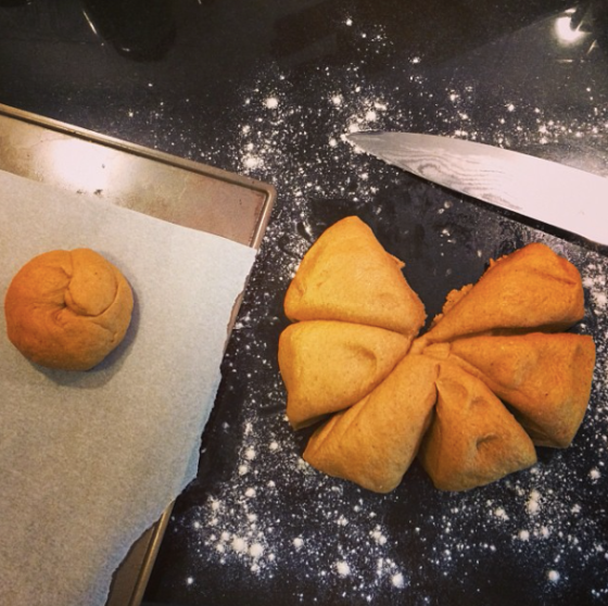 Pumpkin bagel dough