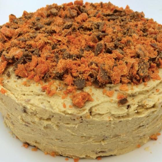 Butterfinger PB honeycomb cake