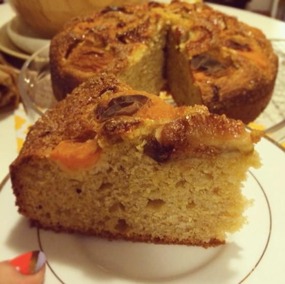 Inside apricot fig polenta cake