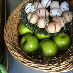 Green apples for the pectin in jam. Eggs (from the chickens we just met) for the biscuits.