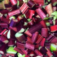 Impossibly vivid rhubarb, ready to be jammed.