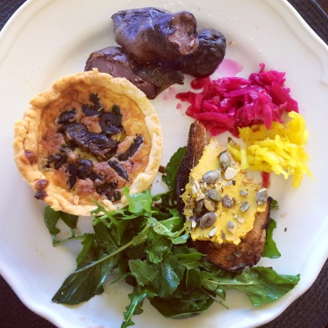 Lunch break: While we 'toiled' in the workshop kitchen, Adam 'threw together' something in the house kitchen. Caramelised onion and mushroom tart, roast blue congo potatoes, two kinds of home-made sauerkraut, pumpkin hummus on fresh sourdough toast, and the rocket we picked only an hour before.