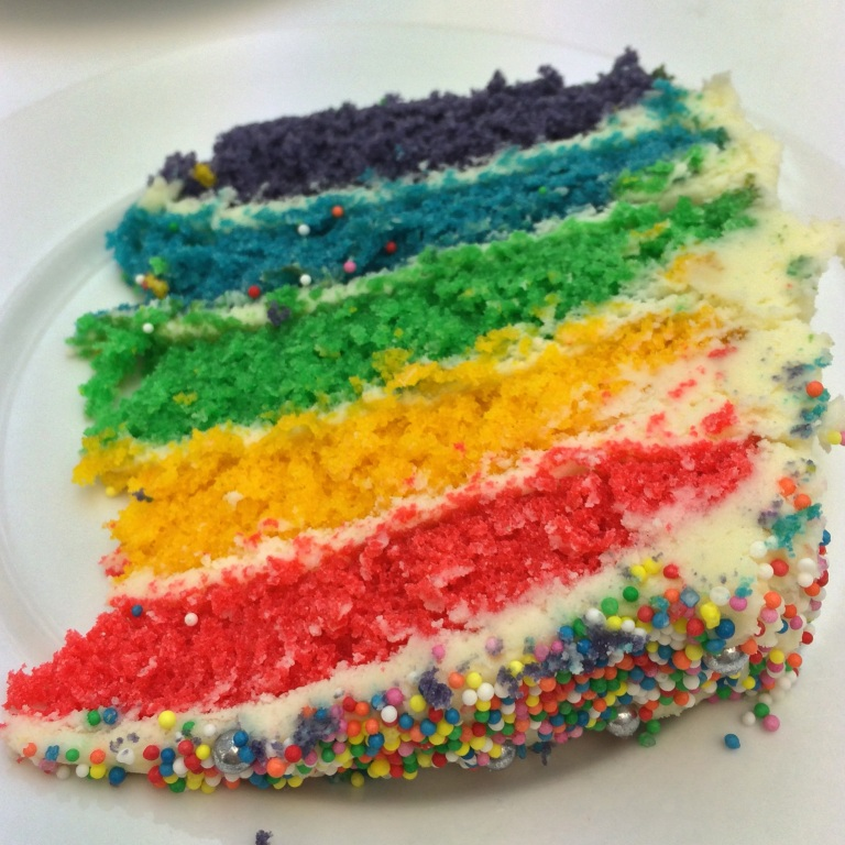 Rainbow layer cake inside