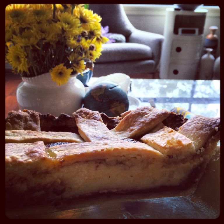 Black-bottom Meyer lemon pie.